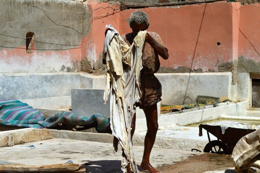 Moroccan man at the tanneries