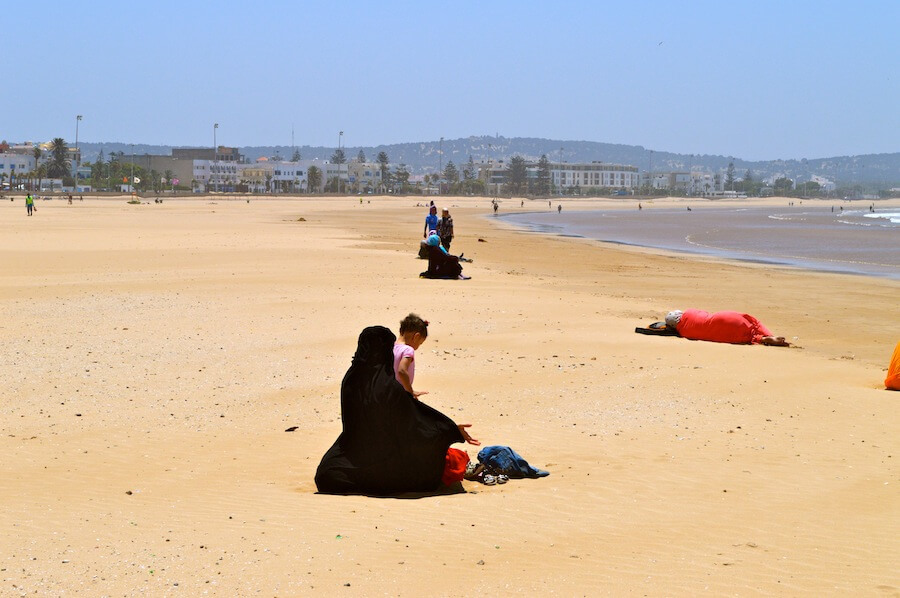 Muslims at the beach of Essaouira