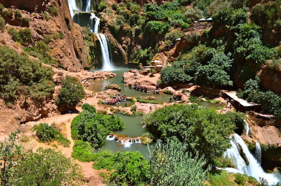 Panoramic view of the Ouzoud Waterfalls