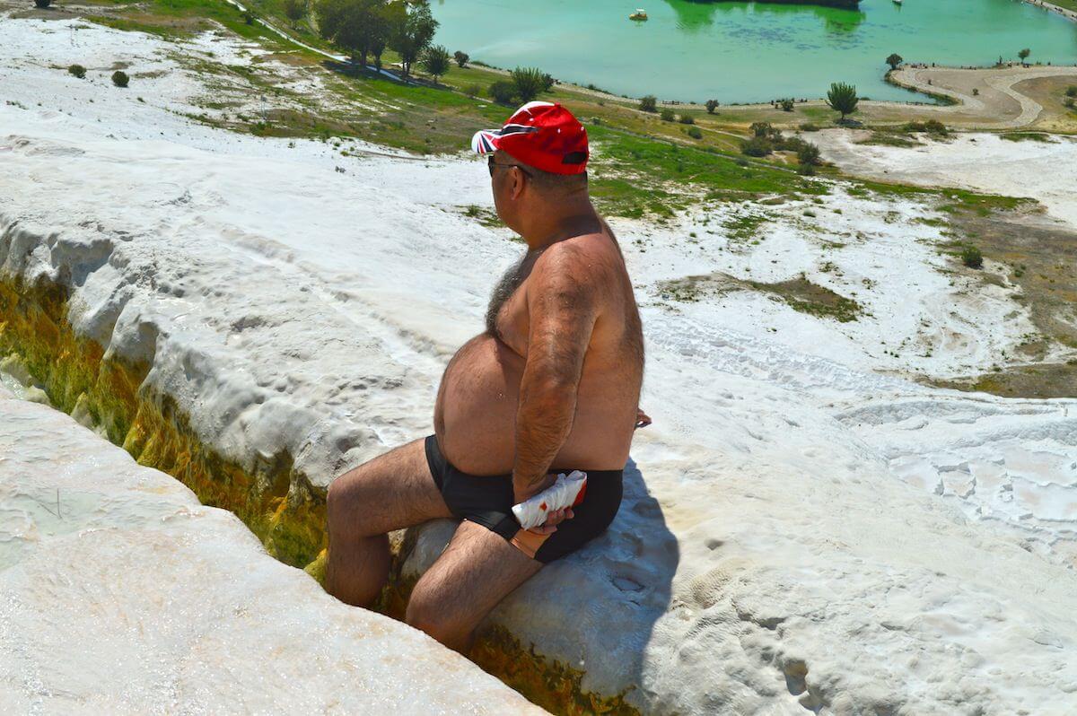 Overweight man at Pamukkale