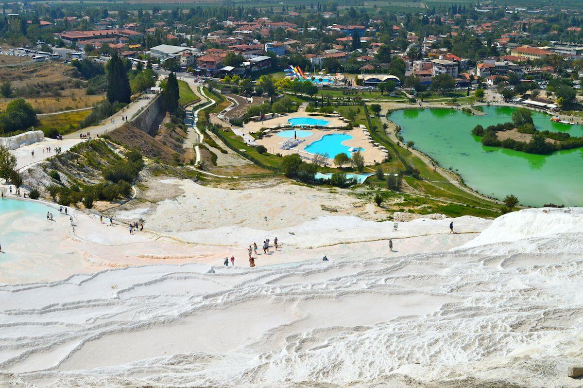 Pamukkale seen from the top of the travertines