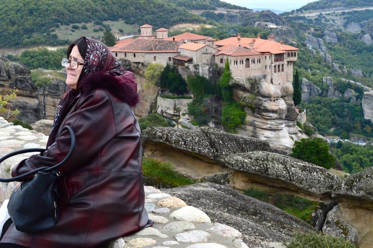 Greek lady at Meteora Monastery