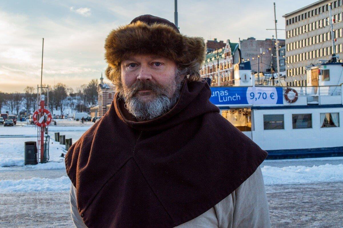Finnish man at the harbor of Helsinki