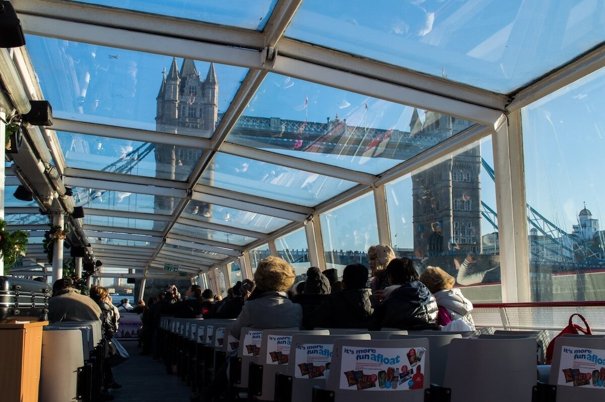 The boat from Tower Bridge to Westminster