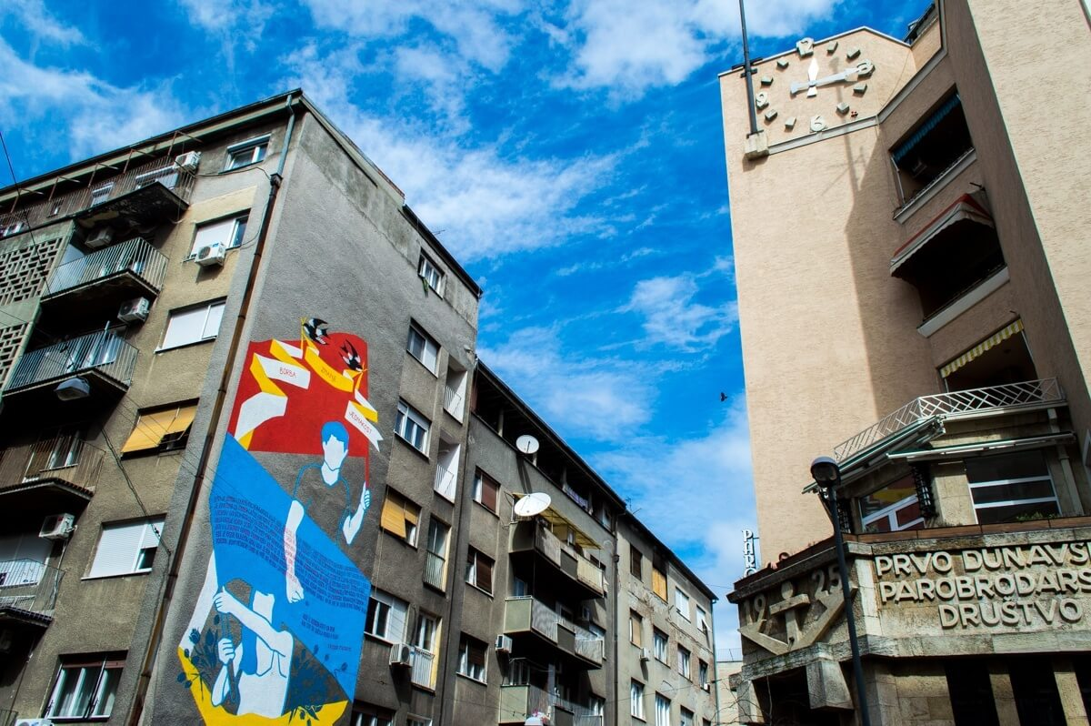 Communist architecture and street art at Belgrade, Serbia