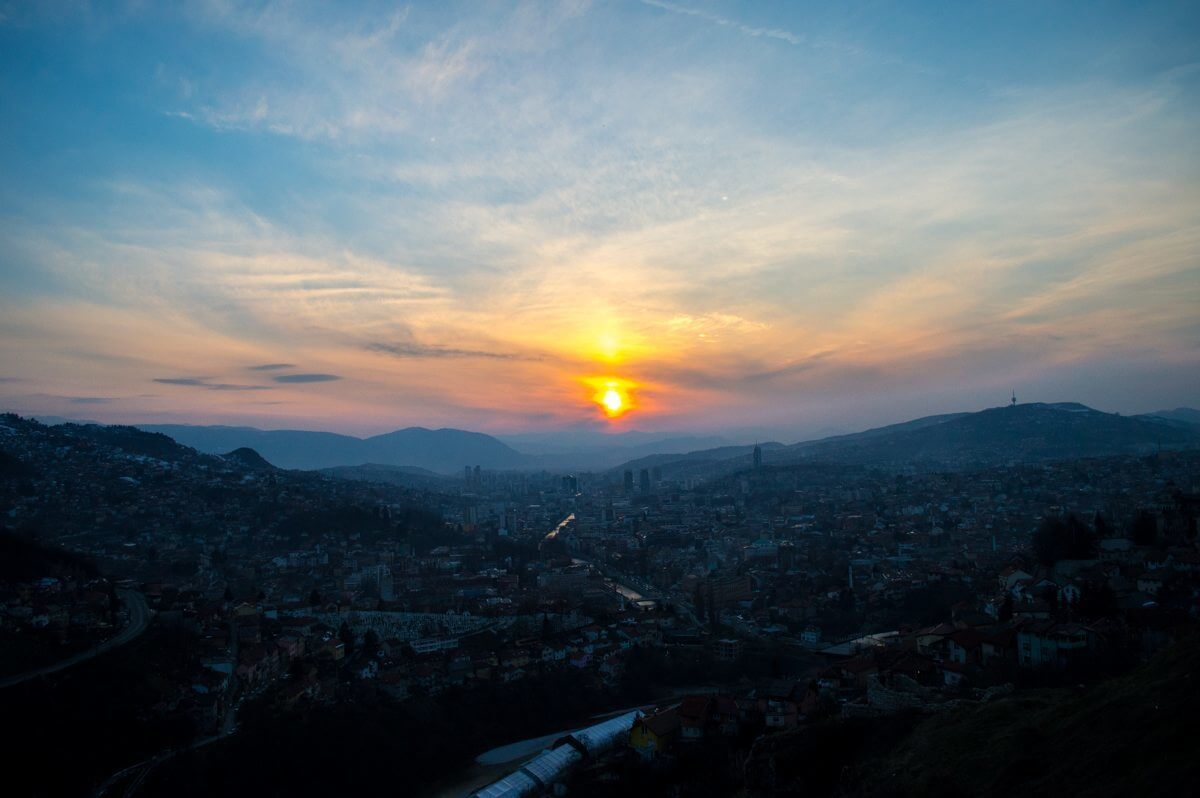 Sunset overlooking the old town of Sarajevo