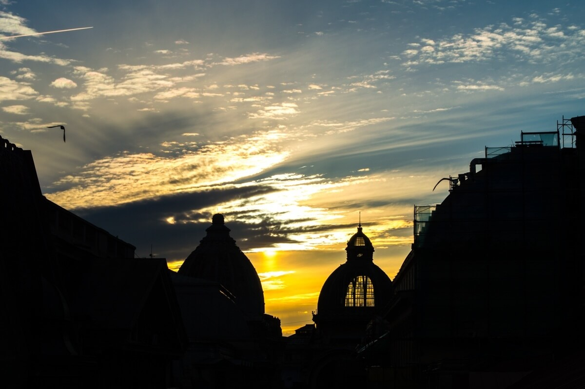 Sunset in the Old Town of Bucharest, Romania