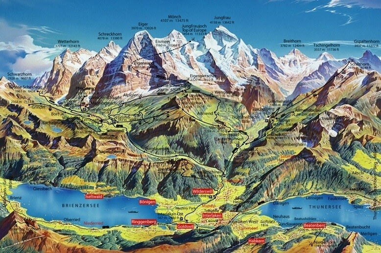 Map of Interlaken and its surrounding areas
