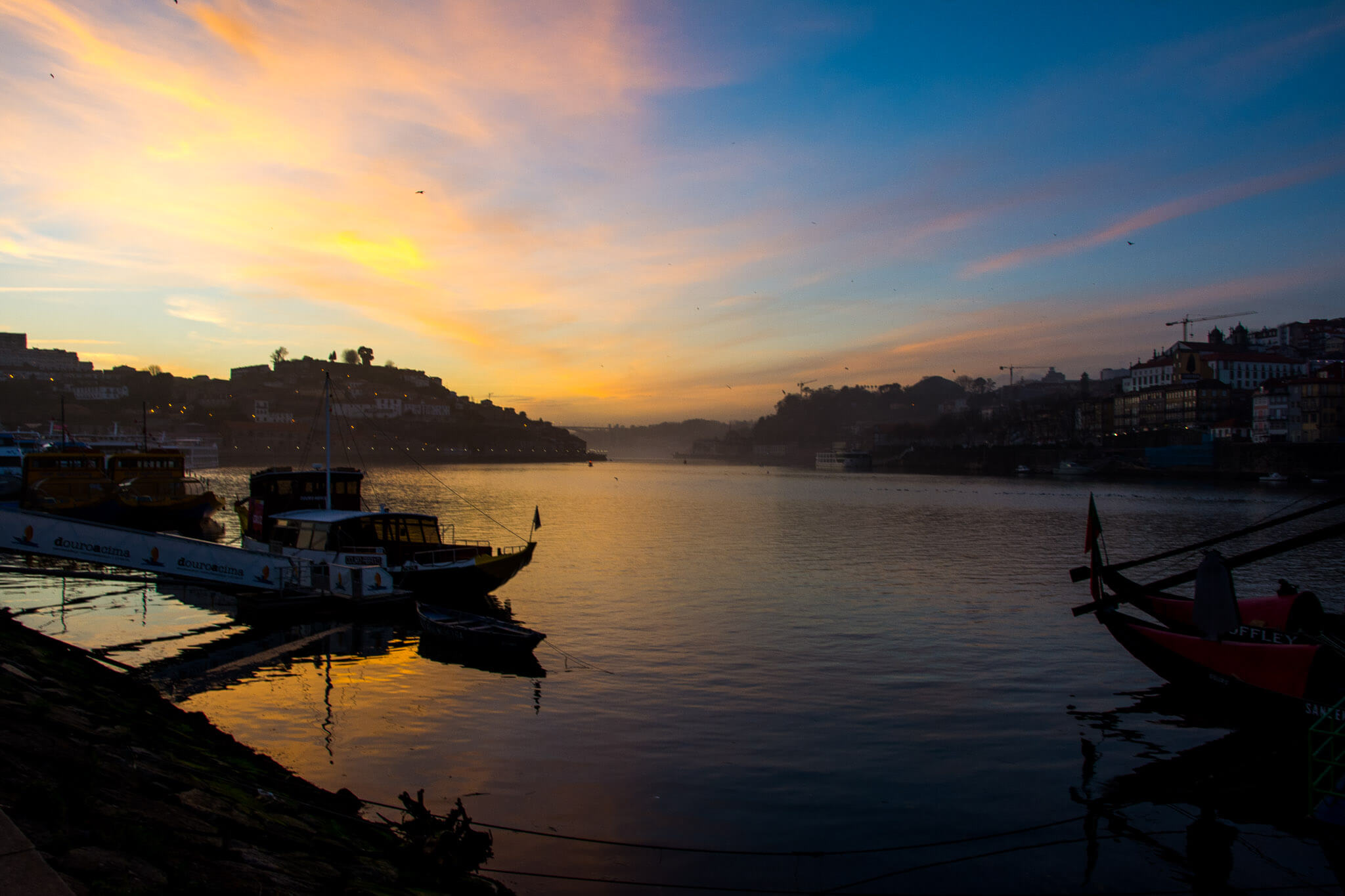 Sunset at Porto, Portugal. Douro River