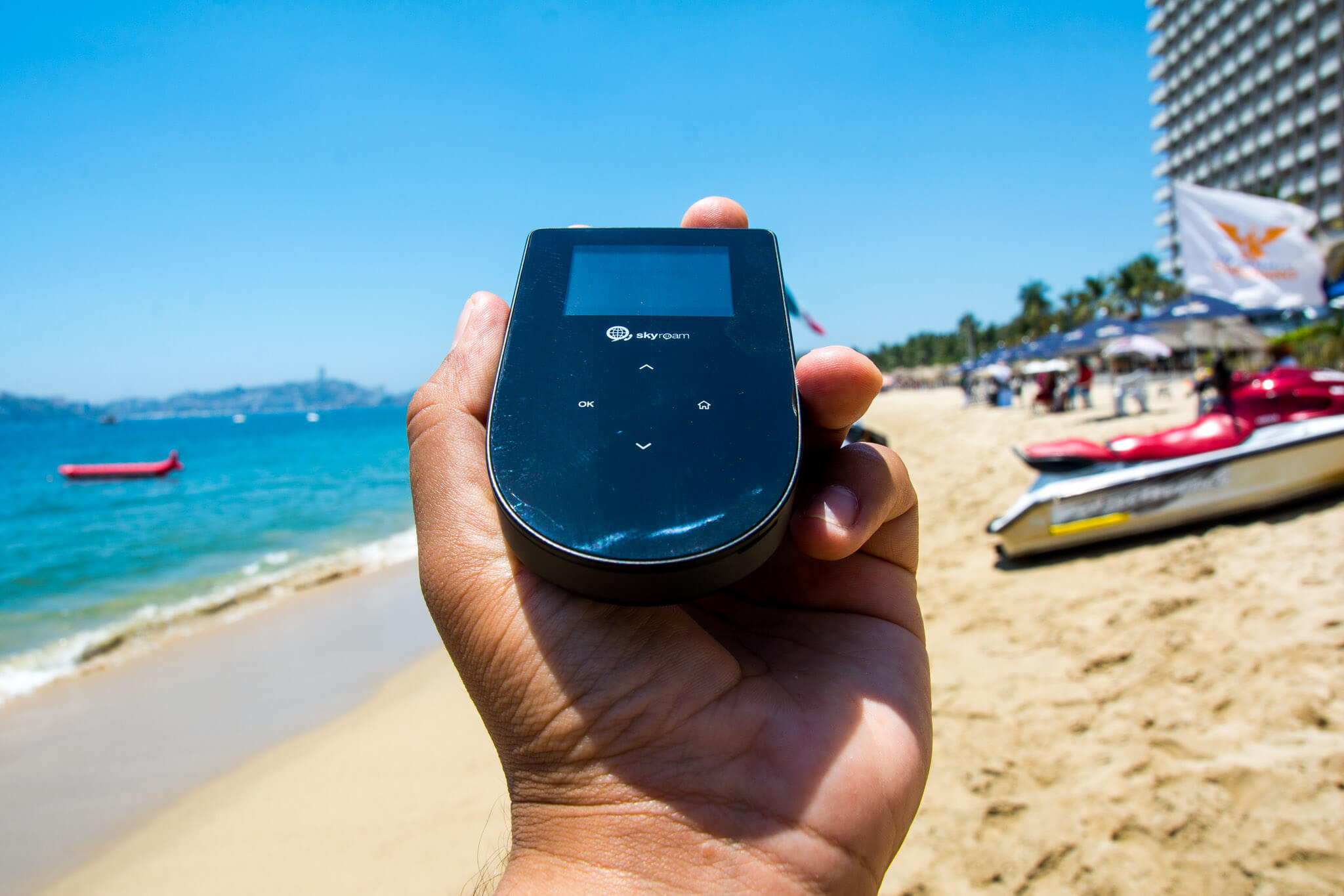 Trying out the TEP Wireless device in Acapulco, Mexico
